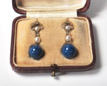 EDWARDIAN LAPIS PEARL AND DIAMOND DROP EARRINGS