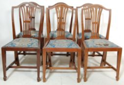 SIX EDWARDIAN HEPPLEWHITE STYLE DINING CHAIRS