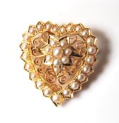 ANTIQUE 18CT GOLD AND SEED PEARL HEART BROOCH