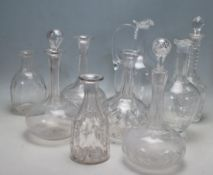 NINE 19TH CENTURY VICTORIAN CUT GLASS DECANTERS