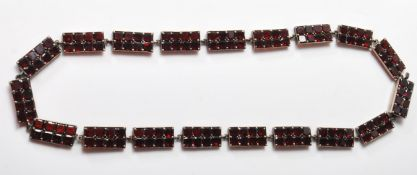 VINTAGE SILVER AND GARNET PANEL NECKLACE