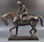 LARGE BRONZE EFFECT HORSE & JOCKEY DECORATIVE FIGU