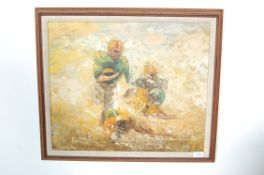 AMERICAN FOOTBALL OIL ON CANVAS PALETTE KNIFE PAIN