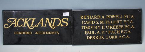 PAIR OF WOODEN MID CENTURY SHOP - OFFICE SIGNS