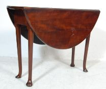 GEORGE III MAHOGANY DROP LEAF PAD FOOT DINING TABL