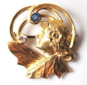 ART NOUVEAU GOLD DIAMOND AND SAPPHIRE FAIRY BROOCH