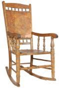 VICTORIAN BEECHWOOD ROCKING CHAIR WITH CARVED DECO