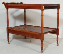 REGENCY REVIVAL YEW WOOD TWIN TIER BUTLERS TROLLEY