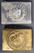 TWO ORIGINAL WWII GERMAN ARMY NAZI UNIFORM BELT BUCKLES