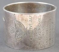 WWI FIRST WORLD WAR RFC / RAF HALLMARKED SILVER ENGRAVED NAPKIN RING