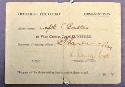 RARE WWII NAZI WAR CRIMES BELSEN COURT TRIALS OFFICER'S PASS