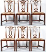 SET OF SIX CHIPPENDALE REVIVAL CHAIRS