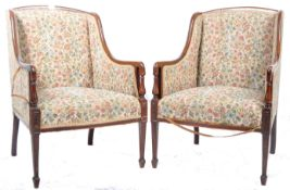 PAIR OF EDWARDIAN MAHOGANY FIRESIDE / LIBRARY ARMCHAIRS