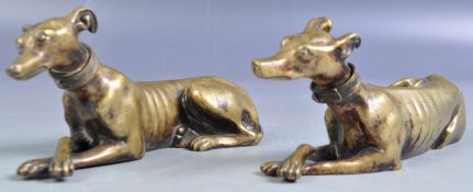 CHARMING PAIR OF 19TH CENTURY BRONZE GREYHOUNDS