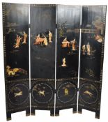 19TH CENTURY JAPANESE BLACK LACQUER AND SHIBAYAMA FOUR FOLD SCREEN