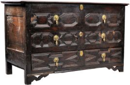 ANTIQUE 17TH CENTURY OAK BLOCK FRONTED MULE CHEST COFFER