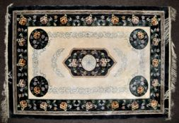 EARLY 20TH CENTURY CHINESE WOOL AND SILK WOVEN CARPET FLOOR RUG