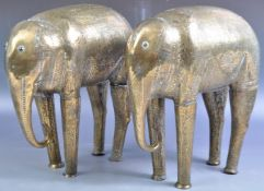 19TH CENTURY INDIAN / MIDDLE EASTERN FINELY ENGRAVED BRASS ELEPHANTS