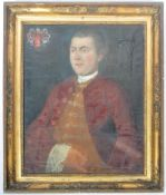 18TH CENTURY GILT FRAMED OIL ON CANVAS PAINTING OF A FRENCH NOBELMAN