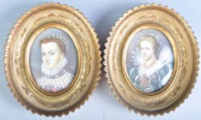 PAIR OF FRENCH PORTRAIT MINIATURES SIGNED RUBY