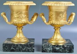 PAIR OF ANTIQUE 19TH CENTURY GILT BRONZE CLASSICAL URNS