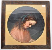 19TH CENTURY OIL ON CANVAS PAINTING PORTRAIT OF A YOUNG GIRL