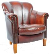 ART DECO STYLE BROWN LEATHER CLUB ARMCHAIR