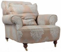 19TH CENTURY HOWARD STYLE SILK DAMASK UPHOLSTERY CHAIR