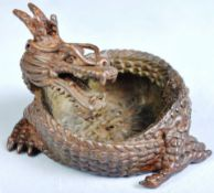 ANTIQUE JAPANESE MEIJI PERIOD BRONZE OF A COILED DRAGON