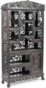 IMPRESSIVE 19TH CENTURY CHINESE CARVED HARDWOOD DISPLAY CABINET