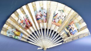 EARLY 19TH CENTURY GILDED HAND PAINTED IVORY FAN WITH SILVER INLAY