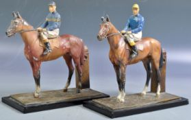ANTIQUE PAIR OF COLD PAINTED HORSE & JOCKEY TABLE LIGHTERS