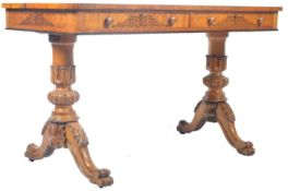 19TH CENTURY VICTORIAN SATINWOOD LIBRARY TABLE / WRITING DESK