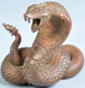 ANTIQUE JAPANESE MEIJI PERIOD SIGNED BRONZE OF A SNAKE