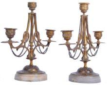PAIR OF 19TH CENTURY BRONZE AND MARBLE CANDLESTICKS