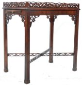 CHIPPENDALE STYLE MAHOGANY SILVER TABLE IN THE CHINESE TASTE