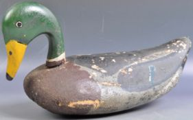 19TH CENTURY HAND CARVED AND PAINTED MALLARD DECOY DUCK