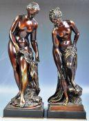 19TH PAIR OF ITALIAN BRONZED - VENUS APHRODITE BATHING