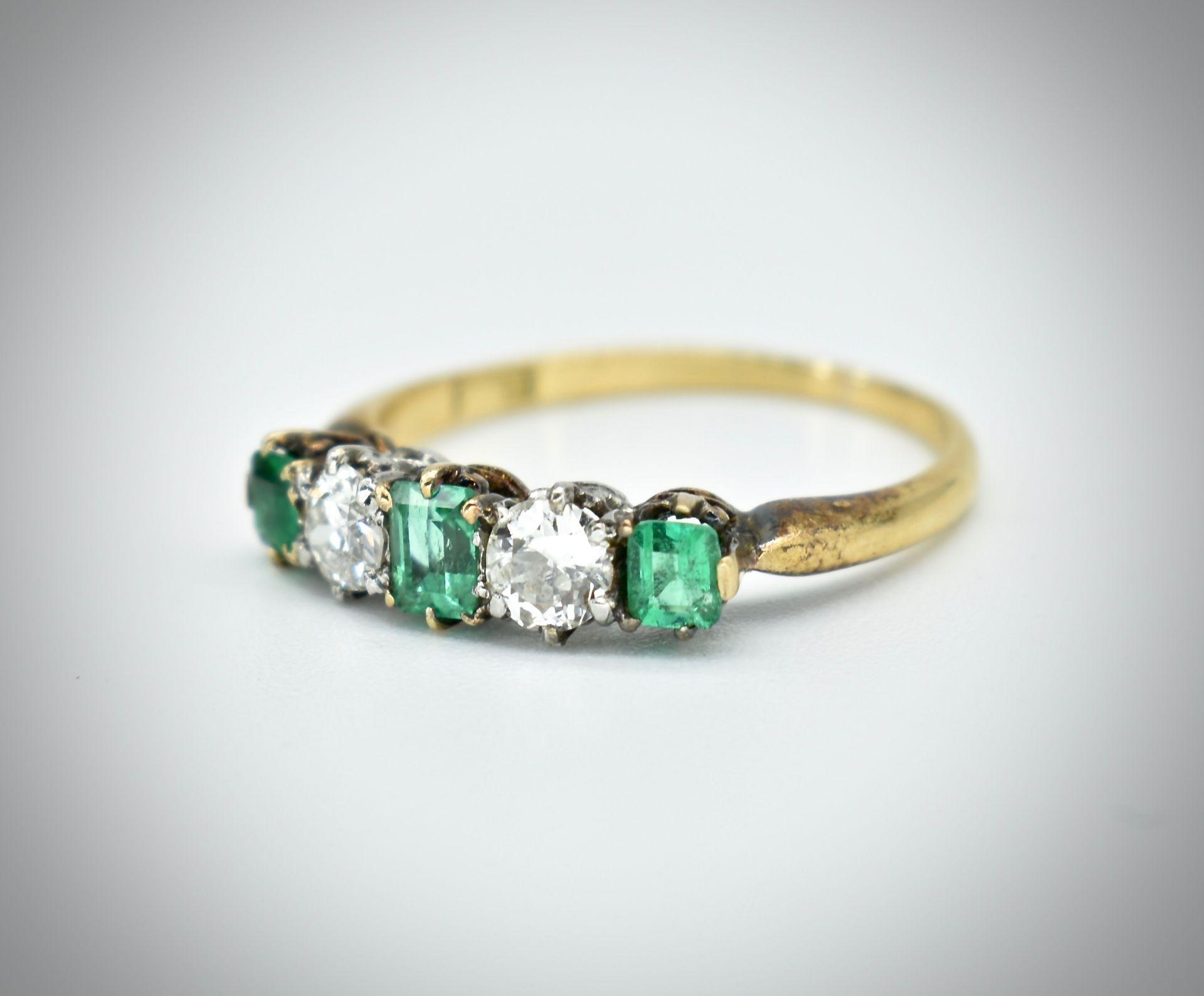 18ct Gold Emerald & Diamond Five Stone Ring