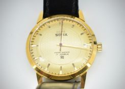 Mid Century Indian HMT Sona Para Shock 17 Jewels Wristwatch