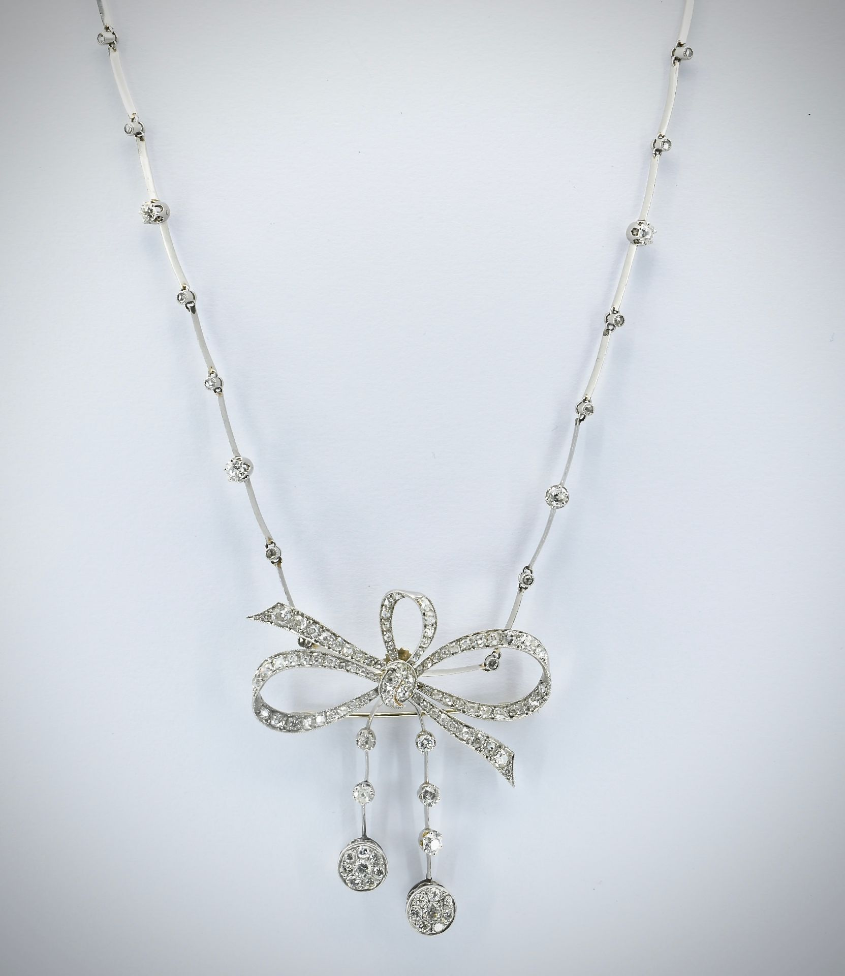 French 18ct Gold Platinum & Diamond Collar Necklace - Image 4 of 9