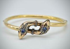 19th Century Ruby Sapphire & Diamond Snake Bangle