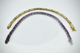 Gilded Silver 925 Tennis Bracelet & Silver 925 Tennis Bracelet