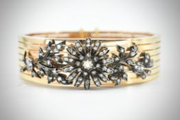 French Antique 18ct Gold & Diamond Bangle