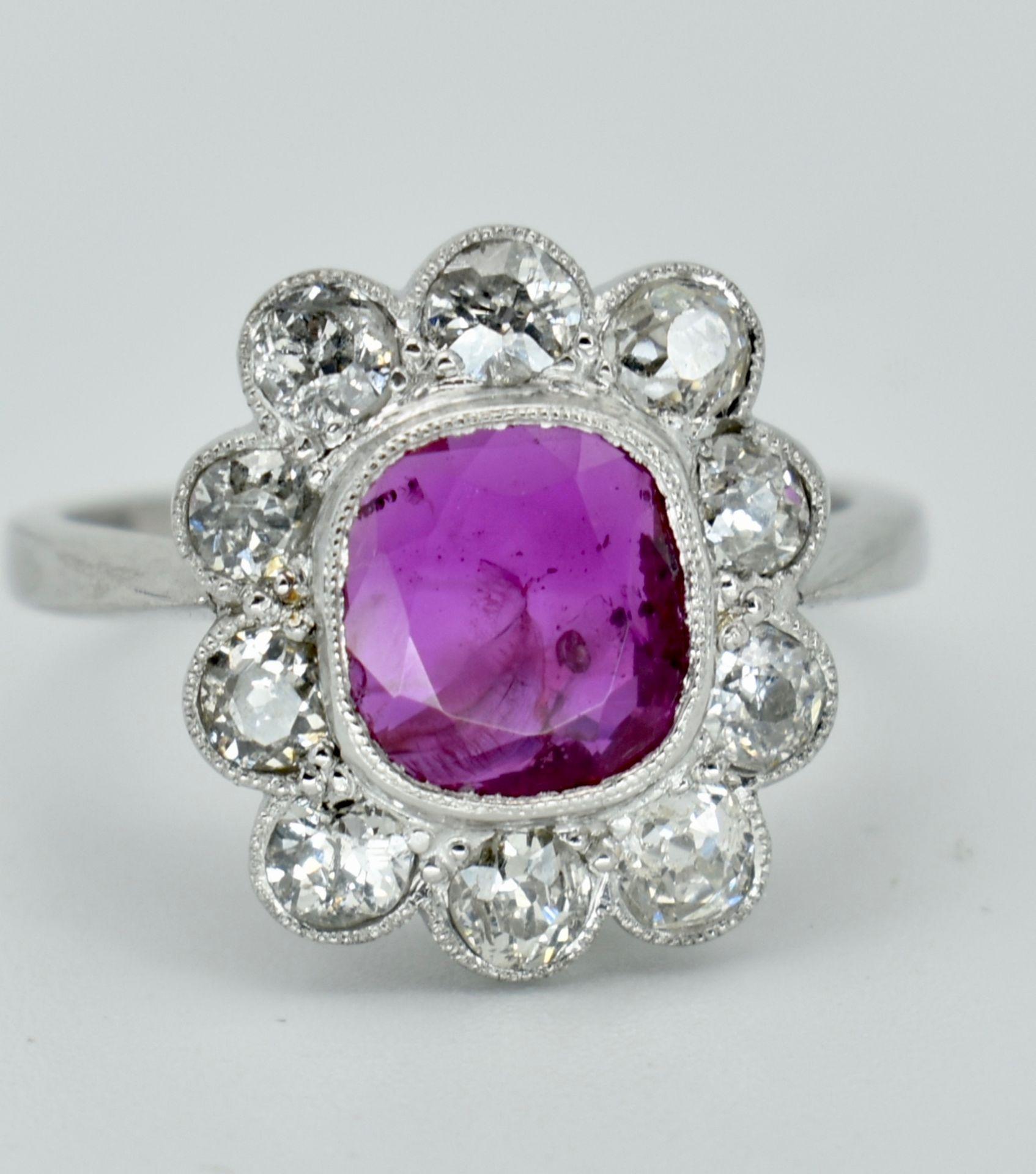 950 Platinum Burma Ruby & Diamond Cluster Ring