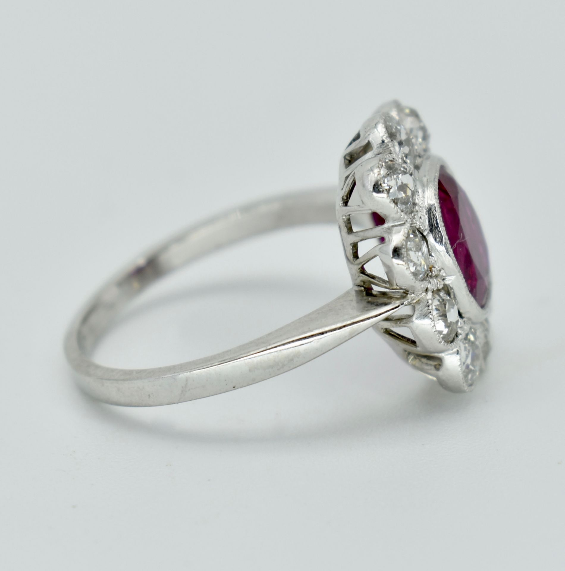 950 Platinum Burma Ruby & Diamond Cluster Ring - Image 2 of 5