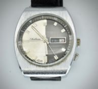 Mid Century Retro Chateau Two Tone Faced Gents Wristwatch