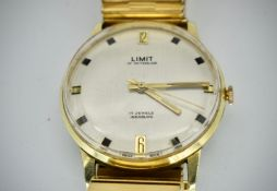 Mid Century Limit of Switzerland 17 Jewels Incabloc Wristwatch