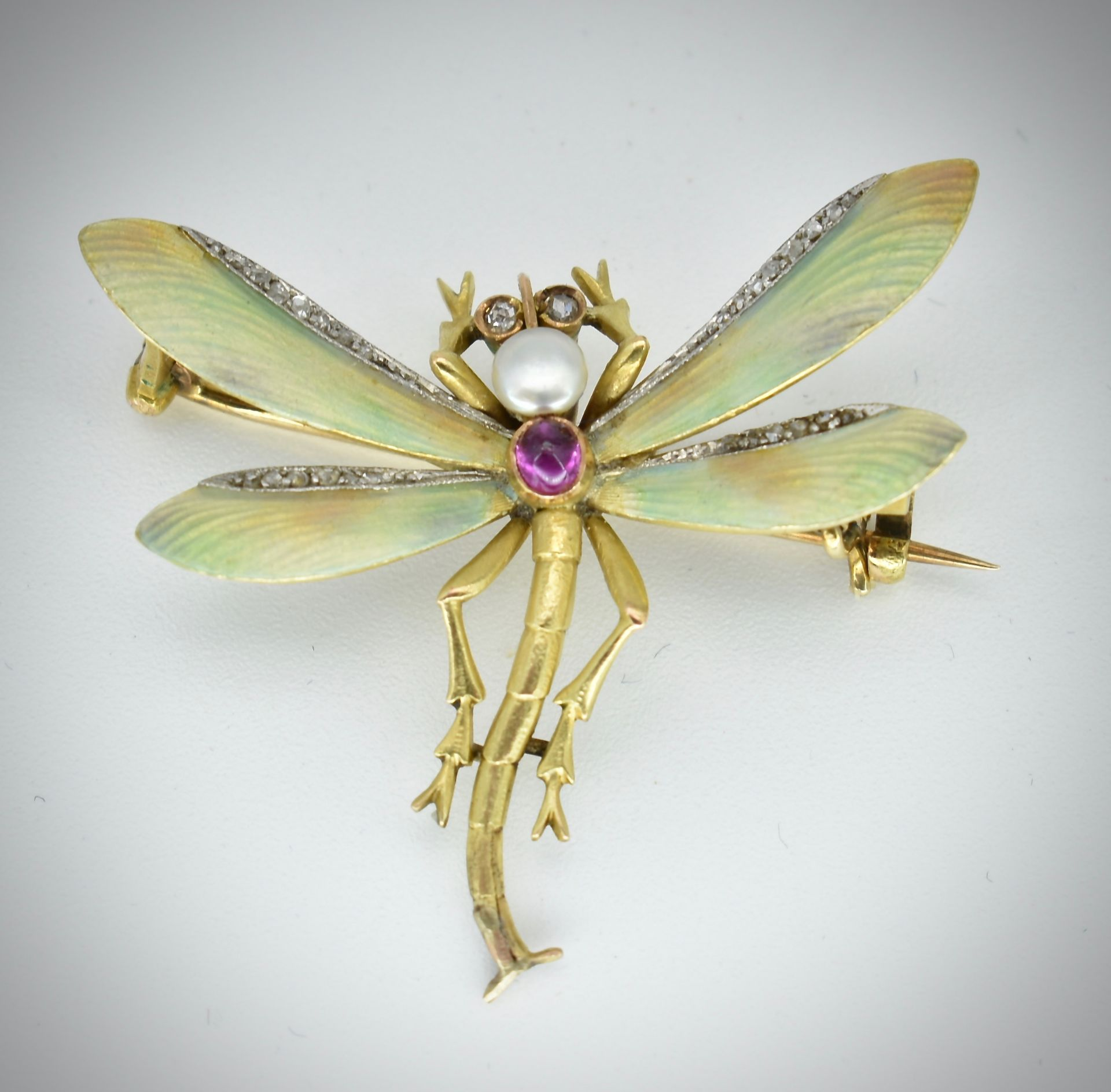 14ct Gold Ruby Diamond & Pearl Dragonfly Brooch