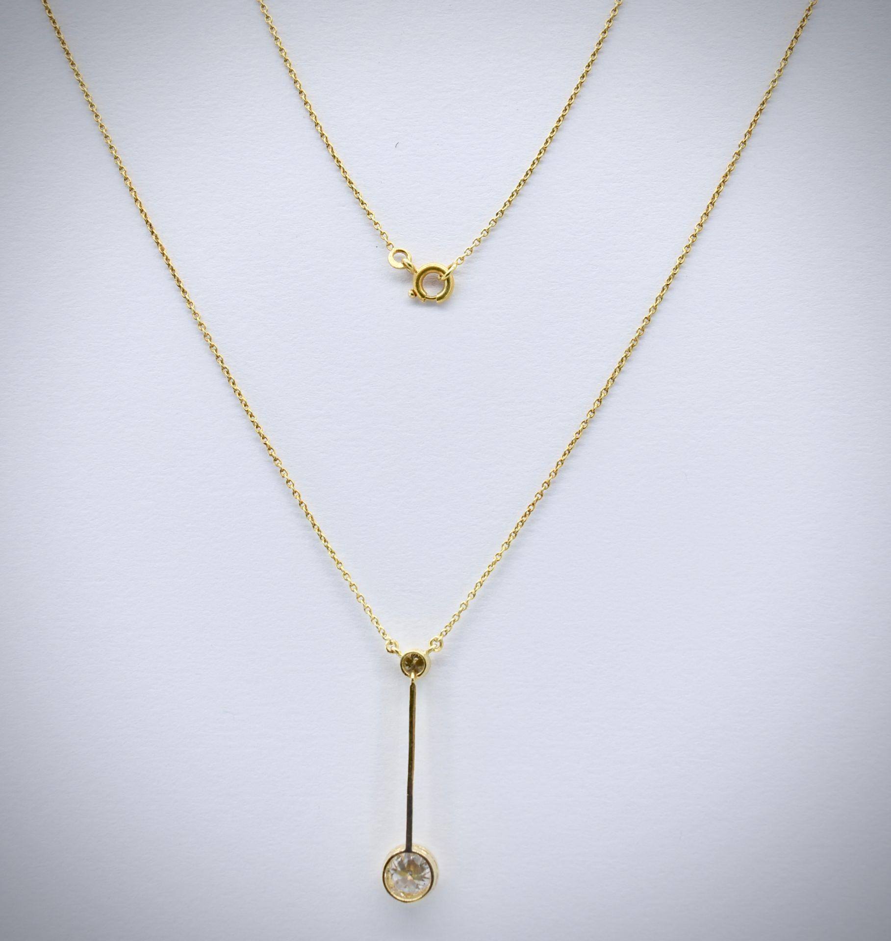 14ct Gold & Diamond Pendant Necklace - Image 2 of 5